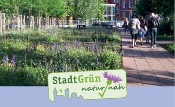 """Eine Broschüre von """"Kommunen für die biologische Vielfalt e.V."""" zum Thema naturnahes, artenreiches und vielfältiges Stadtgrün."""